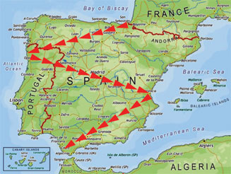 spain map with mountains